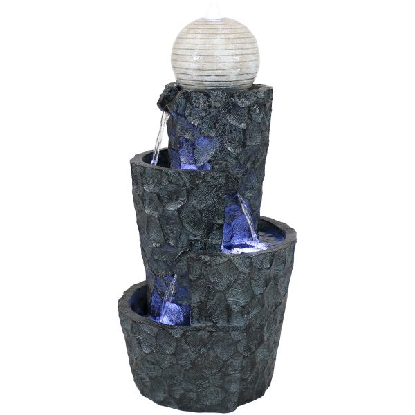 Sunnydaze Hewn Spiral Tower Outdoor Water Fountain with LED Lights - 32-Inch