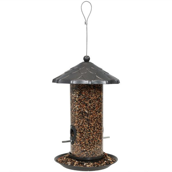 Sunnydaze Wild Bird Seed Feeder with Grey Finish - 13-Inch