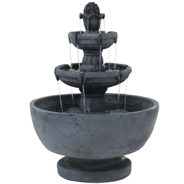 Sunnydaze Budding Fruition 3-Tier Outdoor Water Fountain 34-Inch Tall