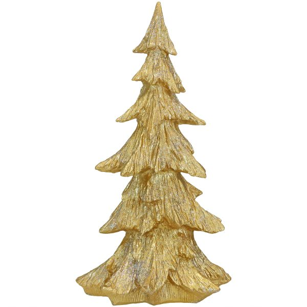 Sunnydaze Gold Sparkling Fir Tree - 18-Inch Polyresin - Indoor or Outdoor Statue