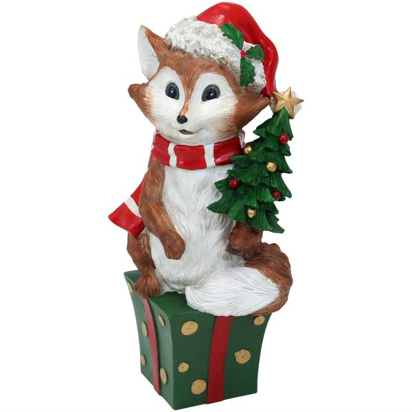Sunnydaze Felix the Christmas Fox - 24-Inch Statue Indoor-Outdoor Polyresin