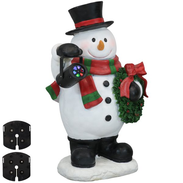 Sunnydaze Festive Traveling Snowman Statue with Projector Light - Indoor Use