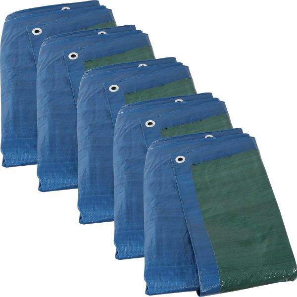 Sunnydaze 16 x 20-Foot Set of 5 Blue/Green Waterproof Multi-Purpose Poly Tarp