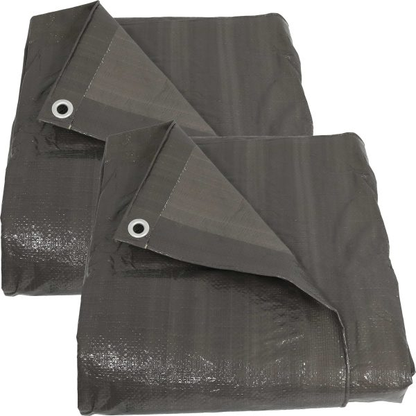 Sunnydaze 20x30-Foot Set of 2 Dark Gray Waterproof Multi-Purpose Poly Tarp