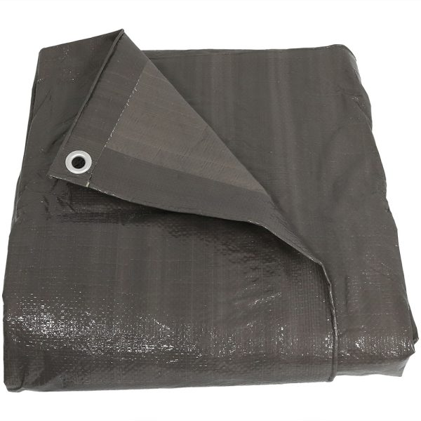 Sunnydaze Waterproof Multi-Purpose Poly Tarp, Color and Size Options Available, Dark Grey, 6-feet x 8-feet