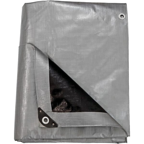 Sunnydaze Heavy-Duty Multi-Purpose Waterproof Gray-Black Tarp, 12-Foot x 16-Foot