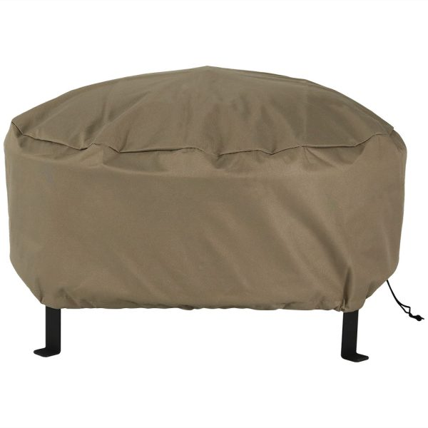 Sunnydaze Heavy-Duty Weather-Resistant Round Fire Pit Cover with Drawstring and Toggle Closure, Size and Color Options Available, Khaki, 58-inch Diameter