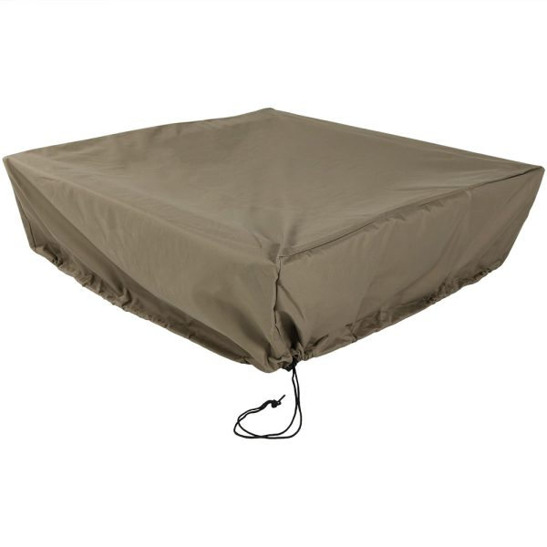 Sunnydaze Heavy Duty Square Fire Pit Cover, Color Options Available, Khaki, 48-inch Square