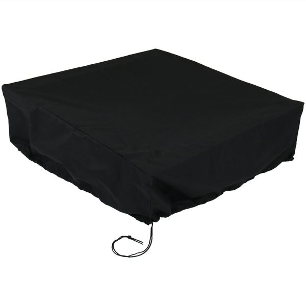 Sunnydaze Heavy Duty Square Fire Pit Cover, Color Options Available, Black, 48-inch Square