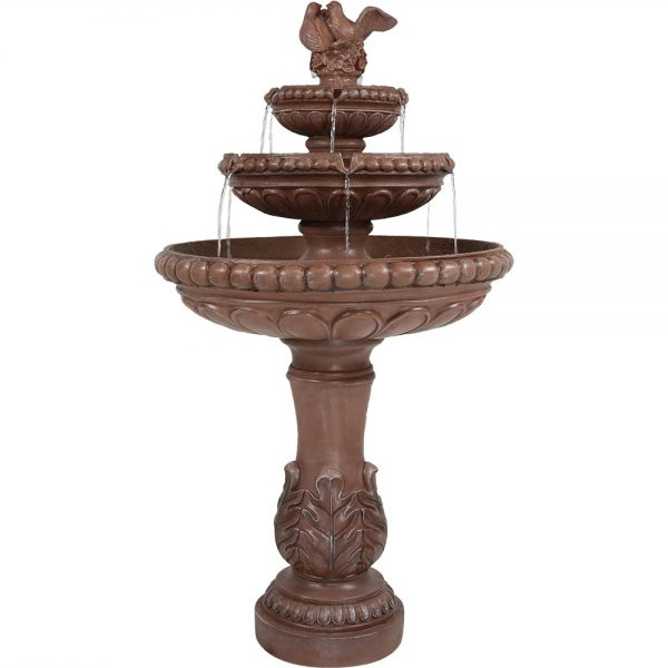 Sunnydaze 3 Tier Dove Pair Outdoor Water Fountain 43 Inch Tall Perfect for Patio