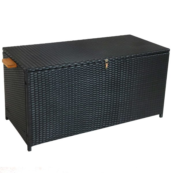 Outdoor Resin Wicker Deck Storage Box with Acacia Wood Handles - Black