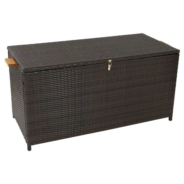 Outdoor Resin Wicker Deck Storage Box with Acacia Wood Handles - Brown