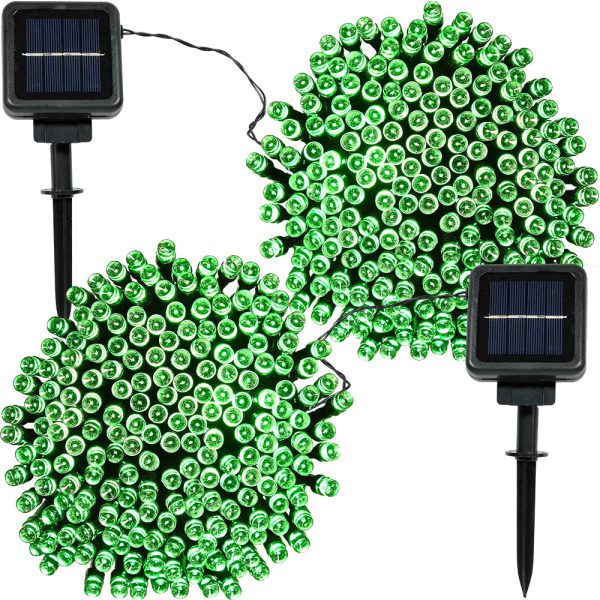 Sunnydaze 200 Count LED Solar Powered String Lights, Green, 2 Sets