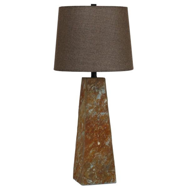 CASL Brands Table Lamp with Slate Pyramid Base and Fabric Lampshade - 31-Inch