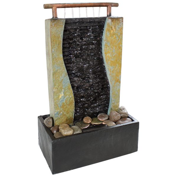 Sunnydaze Bending Slate Tabletop Water Fountain with LED Light 17 Inch Tall