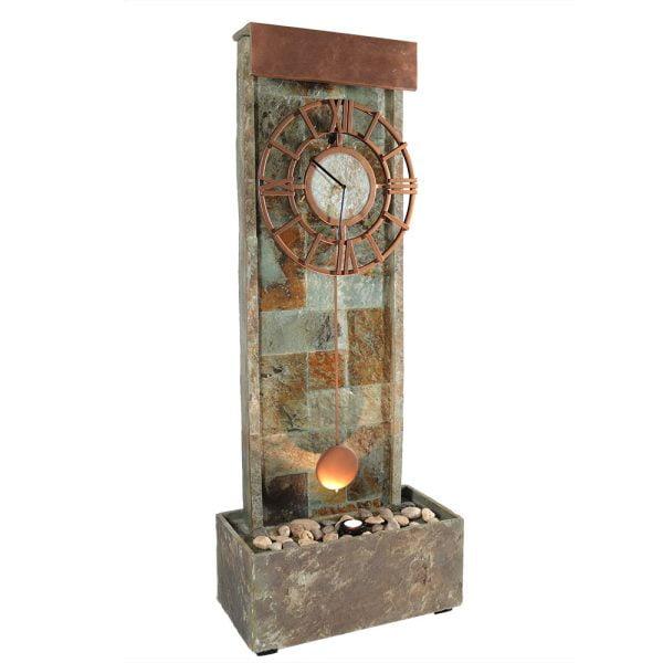 Sunnydaze Slate Clock Water Fountain with LED Light - 49 Inch Tall