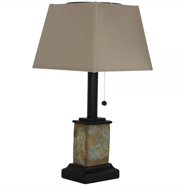 Sunnydaze Outdoor Small Square Natural Slate Solar Table Lamp - 16-Inch