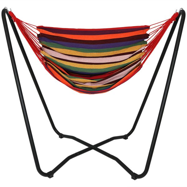 """Sunnydaze 2-Point Hanging Hammock Chair Swing and  Space-Saving """"A"""" Stand Set, for Outdoor Use, Sunset"""