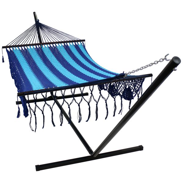 Sunnydaze American DeLuxe Style Mayan Hammock and Stand Combo - Blue