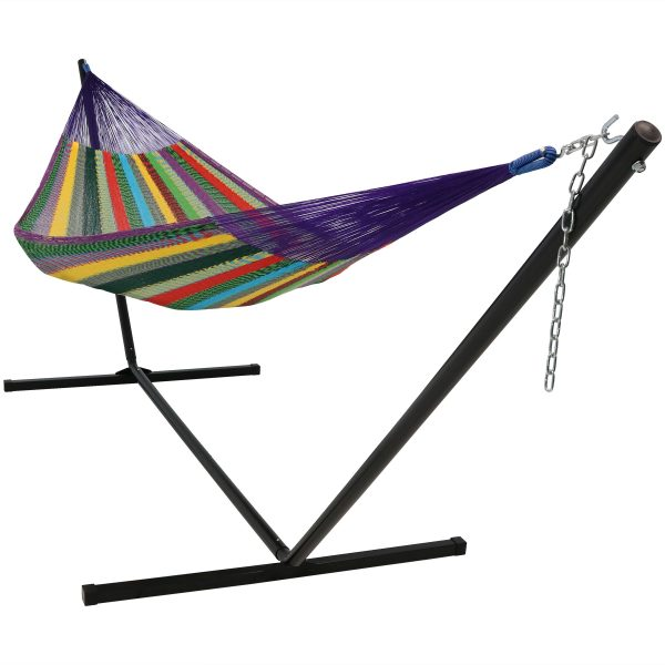Sunnydaze Hand-Woven 2 Person Mayan Hammock with Stand, Double Size, 400 Pound Capacity, Multicolor