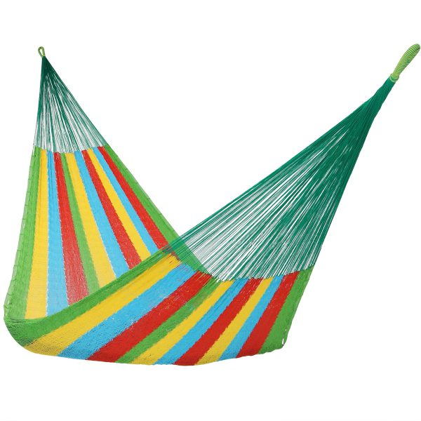 Sunnydaze Portable Handwoven 2-3 Person Mayan Hammock, Family Size, 660 Pound Capacity, Multi Colored