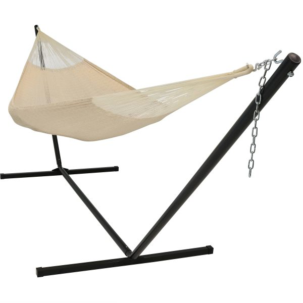 Sunnydaze Hand-Woven 2 Person Mayan Hammock with Stand, Family Size, 400 Pound Capacity, Natural