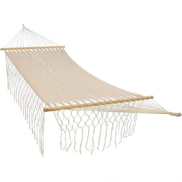 Sunnydaze American Style Handwoven Mayan Single Person Hammock with Spreader Bars, Natural