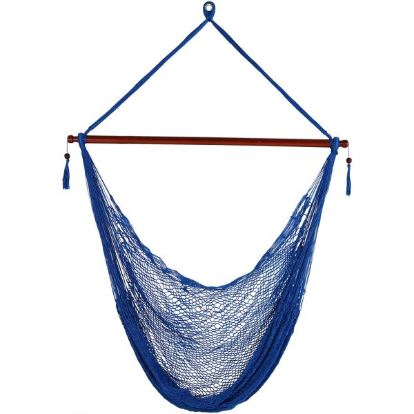 Sunnydaze Hanging Cabo Extra Large Hammock Chair, 47 Inch Wide Spreader Bar, Max Weight: 360 Pounds, Color Options Available, Blue, Hammock Chair ONLY