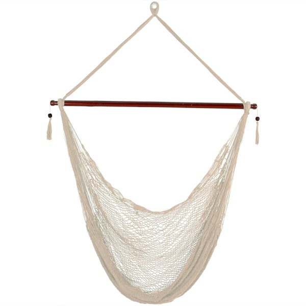Sunnydaze Hanging Cabo Extra Large Hammock Chair, 47 Inch Wide Spreader Bar, Max Weight: 360 Pounds, Color Options Available, Cream, Hammock Chair ONLY