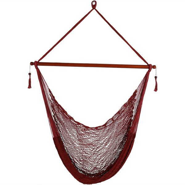 Sunnydaze Hanging Cabo Extra Large Hammock Chair, 47 Inch Wide Spreader Bar, Max Weight: 360 Pounds, Color Options Available, Red, Hammock Chair ONLY