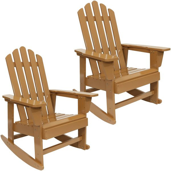 Sunnydaze Outdoor Wooden Adirondack Rocking Chair with Cedar Finish, Set of Two