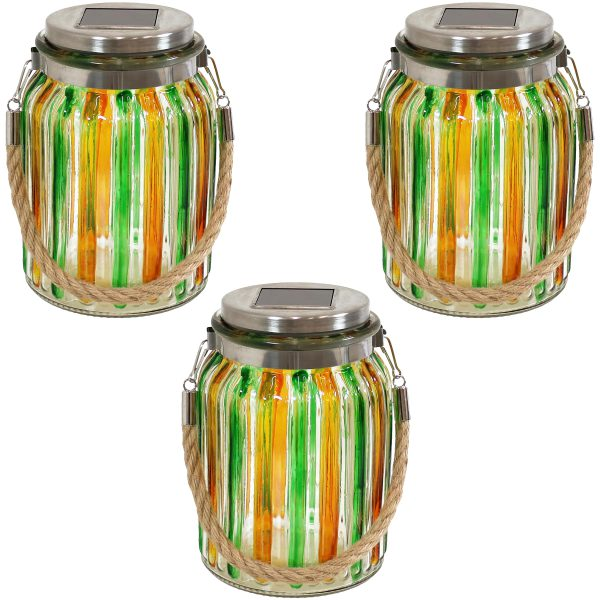 Sunnydaze Striped Solar Lantern Glass Jar Light with White LED String Lights, Set of 3, Green/Yellow