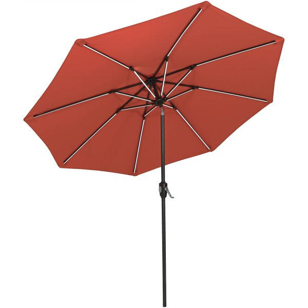 Sunnydaze 9-Foot Solar Powered LED Lighted Spun-Poly Market Umbrella with Push-Button Tilt and Crank, Rust Orange