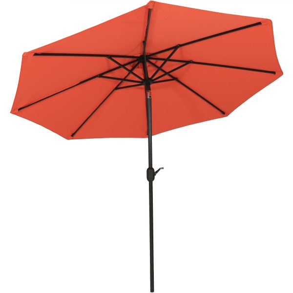 Sunnydaze 9-Foot Aluminum Spun-Poly Market Umbrella with Auto Tilt and Crank, Burnt Orange