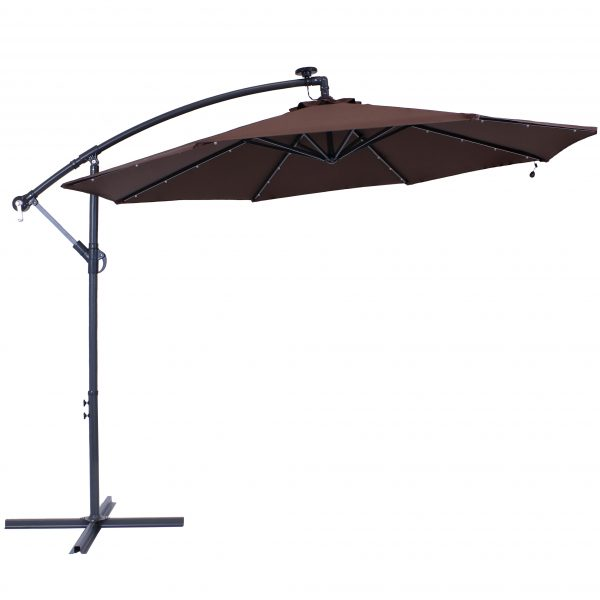 Steel 10-Foot Solar Outdoor Offset Cantilever and Crank Umbrella - Brown