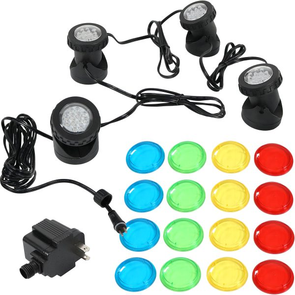 Sunnydaze Submersible Electric LED Light Kit with Transformer, 4-Pack