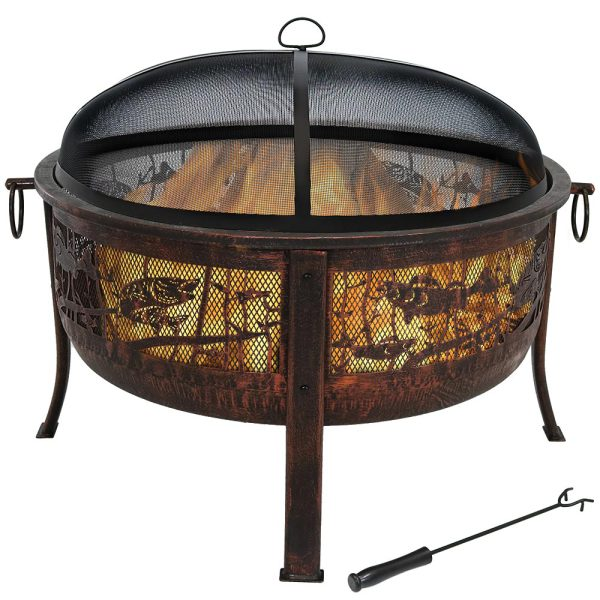 Sunnydaze Northwoods Fishing Fire Pit, 30 Inch Diameter, with Spark Screen