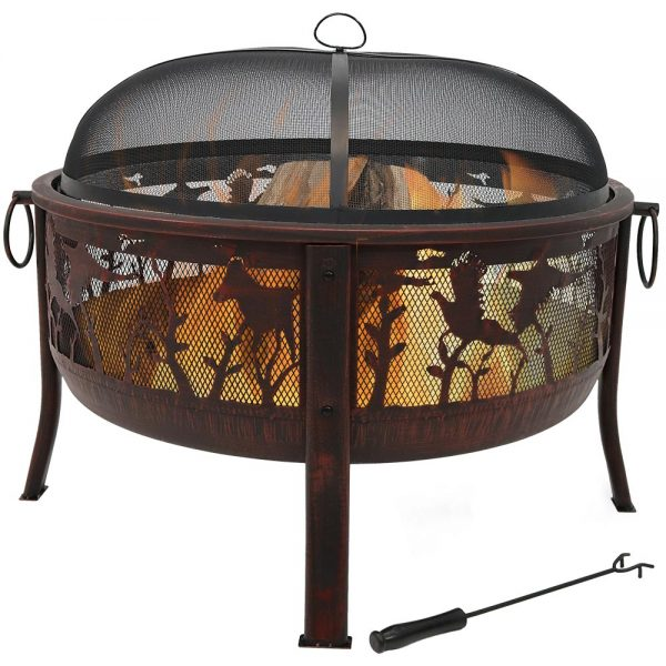 Sunnydaze Pheasant Hunting Fire Pit, 30 Inch Diameter, with Spark Screen