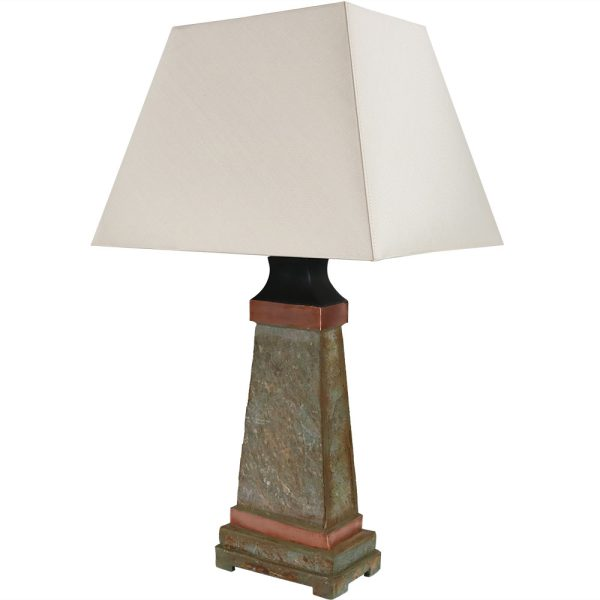 Sunnydaze Indoor Outdoor Copper Trimmed Slate Table Lamp 30 Inch Tall
