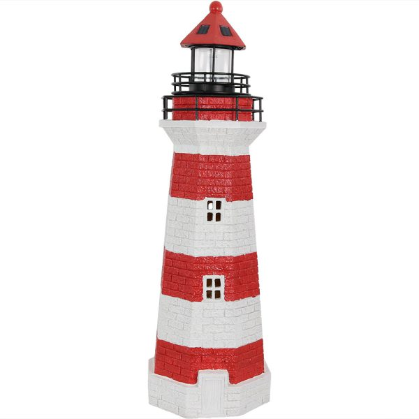 Sunnydaze Solar Striped LED Lighthouse Outdoor Decor, 36 Inch Tall, Red Stripe