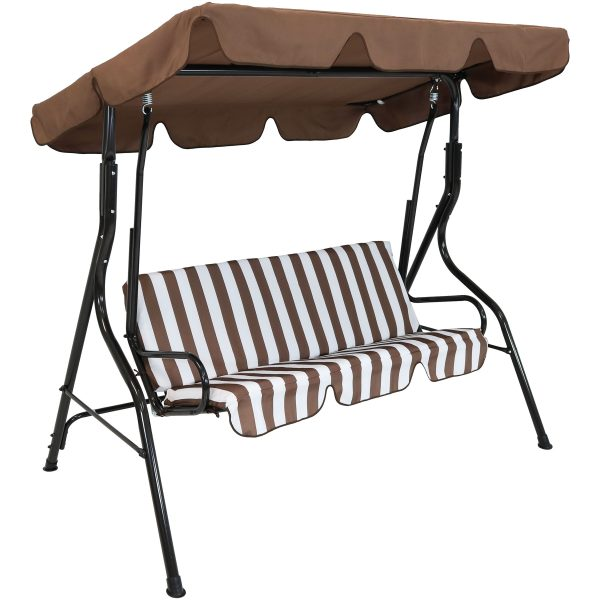 Sunnydaze 3-Person Steel Frame Adjustable Canopy Patio Swing with Striped Seat Cushion, Brown