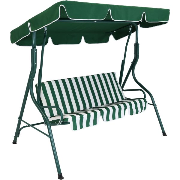 Sunnydaze 3-Person Steel Frame Adjustable Canopy Patio Swing with Striped Seat Cushion, Green