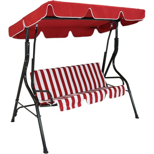 Sunnydaze 3-Person Steel Frame Adjustable Canopy Patio Swing with Striped Seat Cushion, Red
