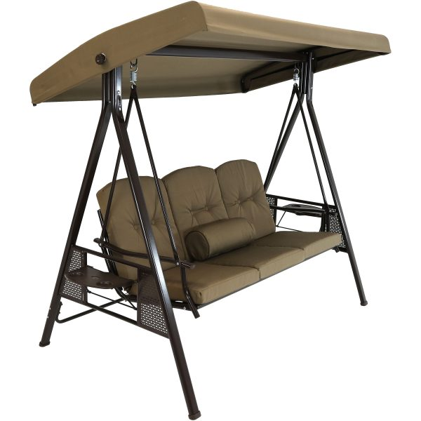 Sunnydaze 3-Person Steel Frame Outdoor Adjustable Tilt Canopy Patio Swing with Side Tables, Cushions and Pillow, Beige