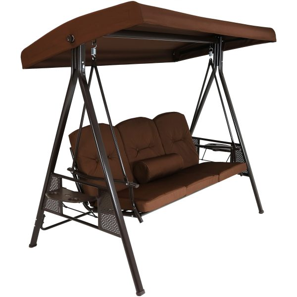 Sunnydaze 3-Person Steel Frame Outdoor Adjustable Tilt Canopy Patio Swing with Side Tables, Cushions and Pillow, Brown