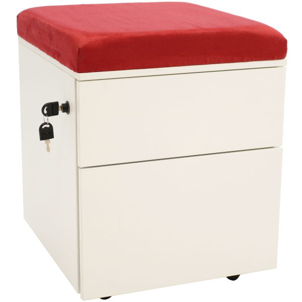 CASL Brands Rolling Steel 2-Drawer Wheeled Mobile Pedestal Storage Cabinet with Lock and Cushion for Home or Office, Red