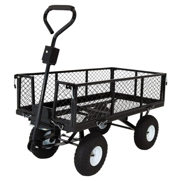 Sunnydaze Heavy-Duty Steel Dump Utility Garden Cart with Removable Sides, 660 Pound Capacity, Black