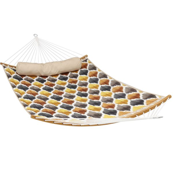 Sunnydaze Quilted 2-Person Hammock with Curved Bamboo Spreader Bars, Heavy-Duty 450-Pound Weight Capacity, Gold & Bronze