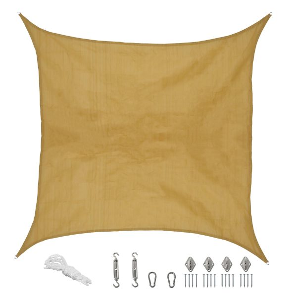 Sunnydaze Beige Square Sun Shade Sail with Hanging Hardware, 12-Foot
