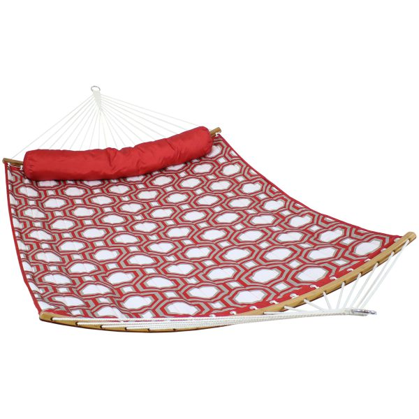 Sunnydaze Quilted Hammock - Curved Spreader Bars Red and Gray Octagon